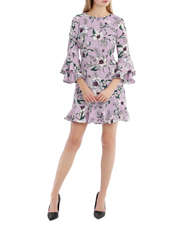 Statement Sleeve Shift Dress With Hem Frill - Tropical Floral
