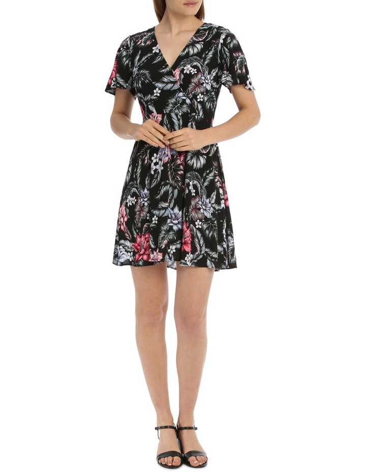Cross Front Fit And Flare Dress - Tropical Floral image 1