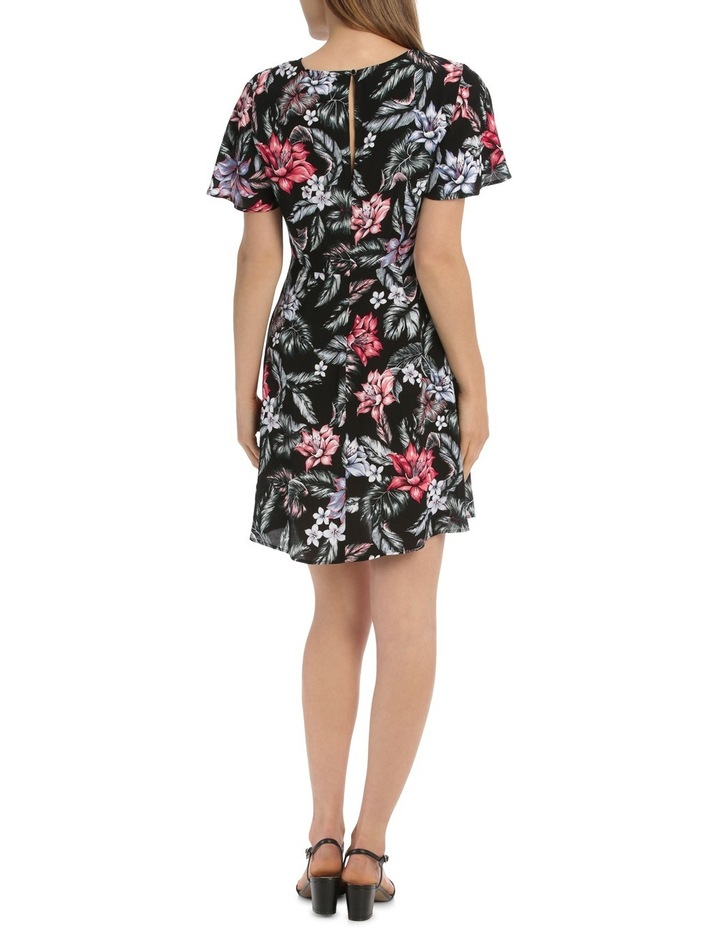 Cross Front Fit And Flare Dress - Tropical Floral image 3