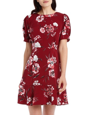 Tokitopuff sleeve skater dress - brush stroke floral. Tokito puff sleeve skater  dress - brush stroke floral d50095a7e