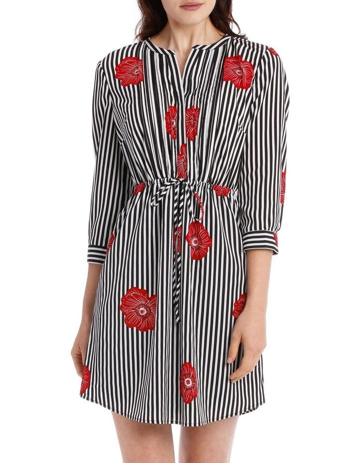 Pleat Front Shirt Dress - Stripe Floral image 1
