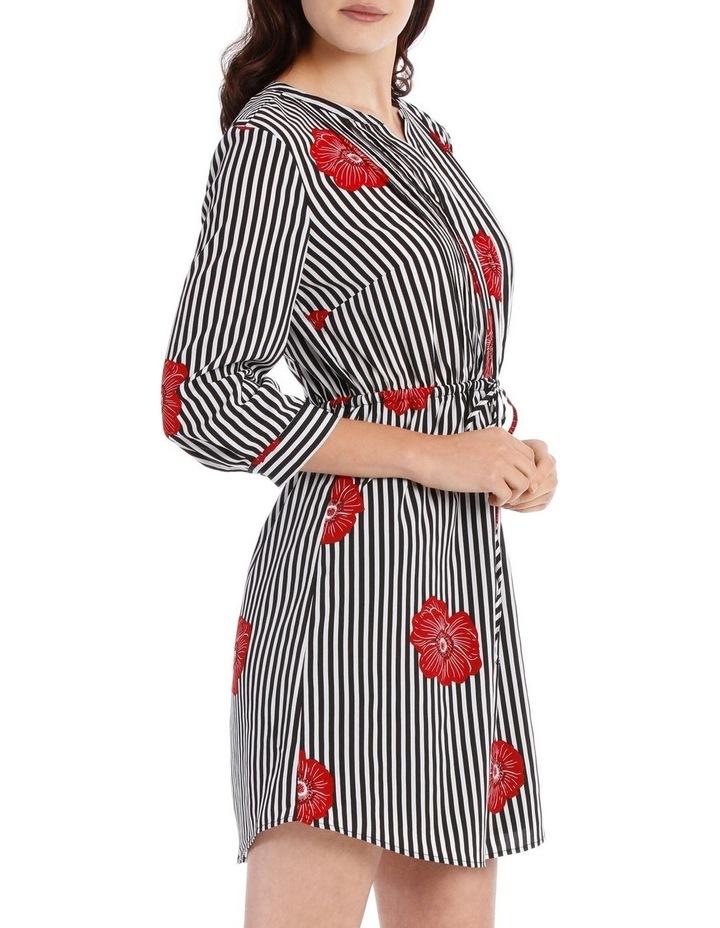 Pleat Front Shirt Dress - Stripe Floral image 2