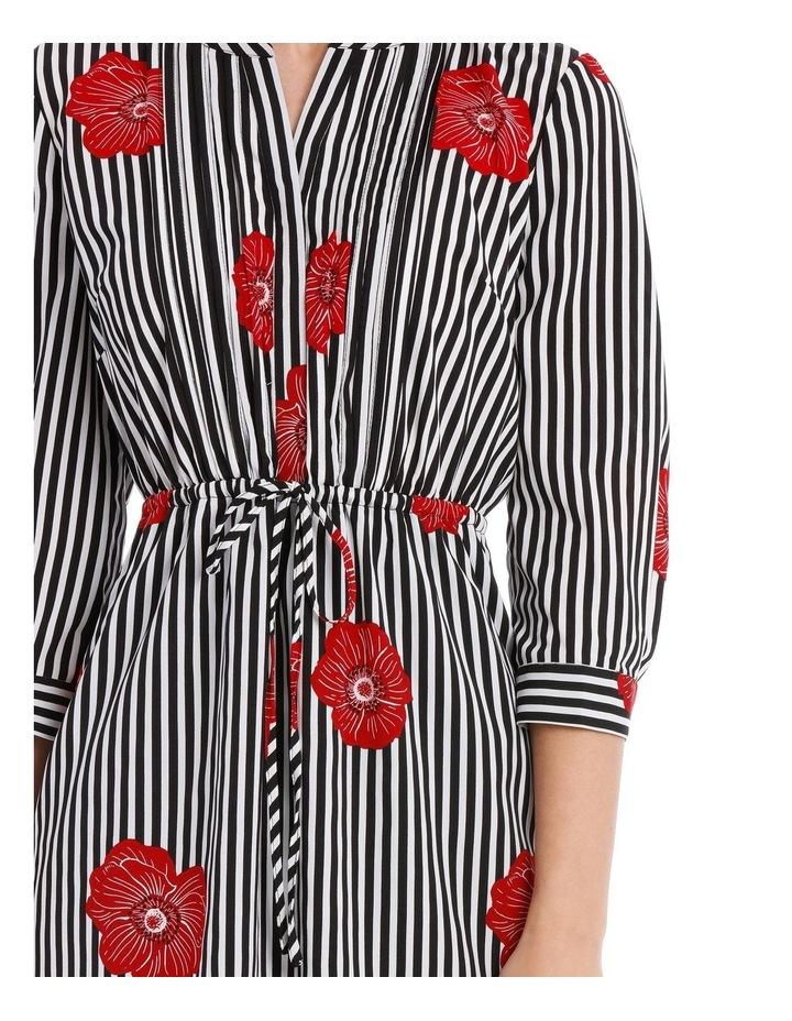 Pleat Front Shirt Dress - Stripe Floral image 4