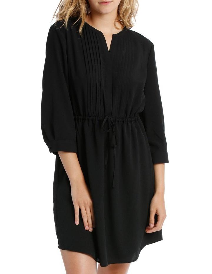 Pleat Front Shirt Dress- Black image 1
