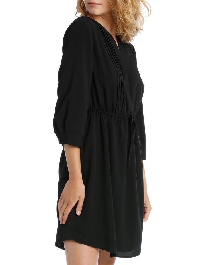 Pleat Front Shirt Dress- Black image 2