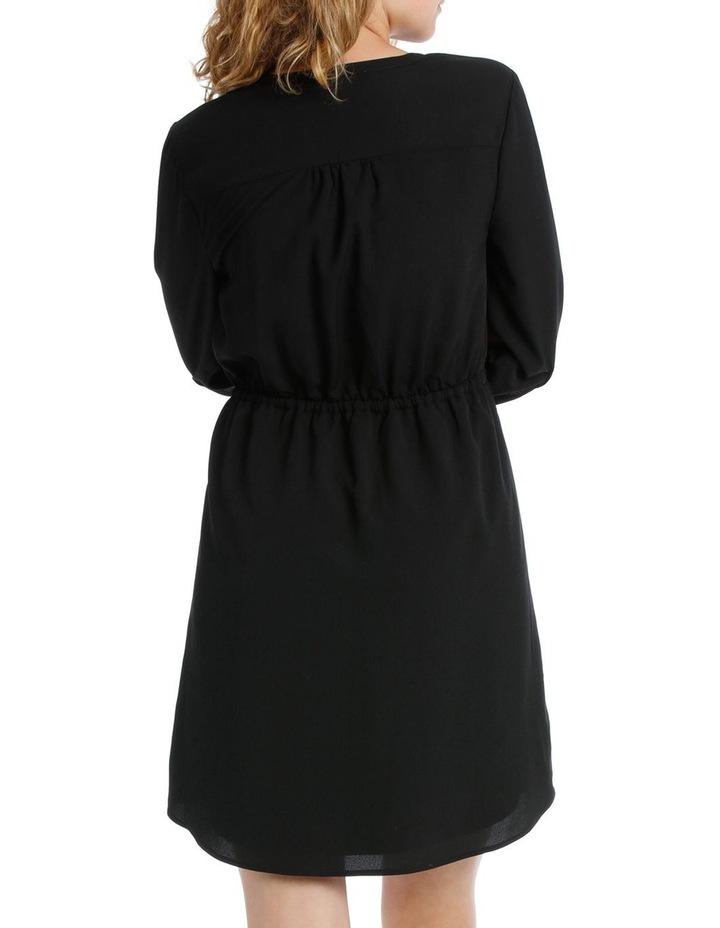 Pleat Front Shirt Dress- Black image 3