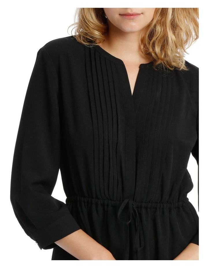 Pleat Front Shirt Dress- Black image 4