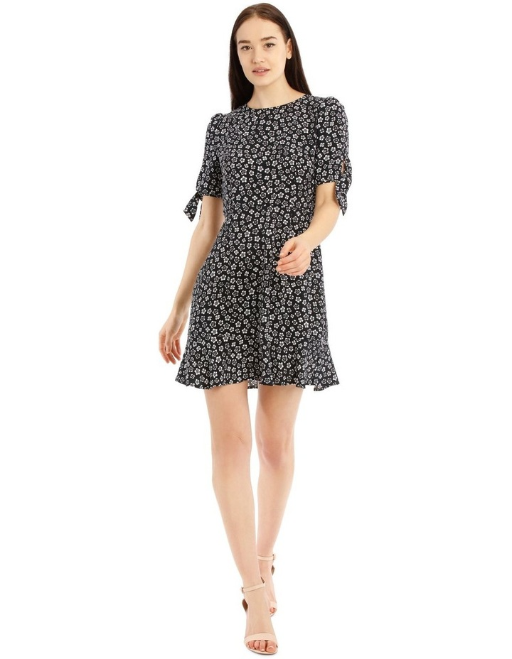 Tie Sleeve Fit And Flare Dress - Stamp Ditsy image 1