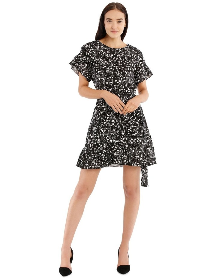 Graphic Ocelot Apron Front Frill Dress image 1