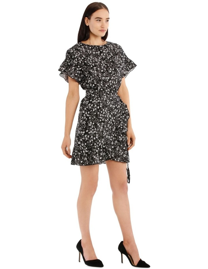 Graphic Ocelot Apron Front Frill Dress image 2