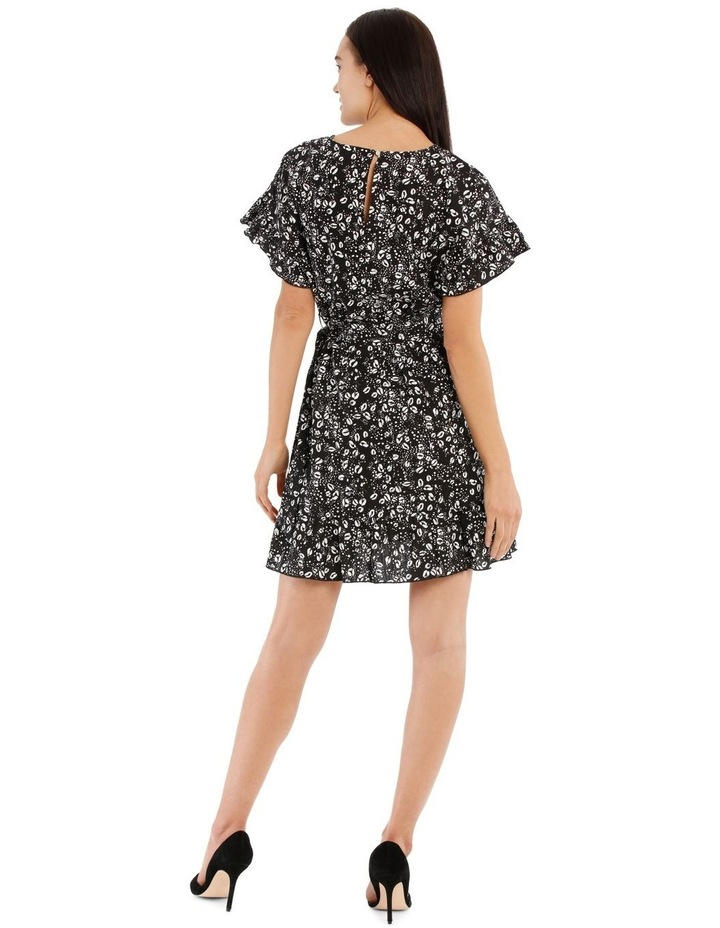 Graphic Ocelot Apron Front Frill Dress image 3