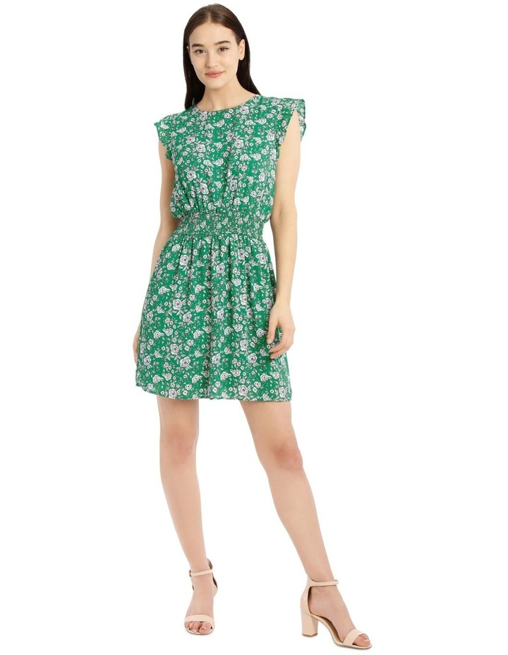 Shirred Waist Flutter Sleeve Dress image 1