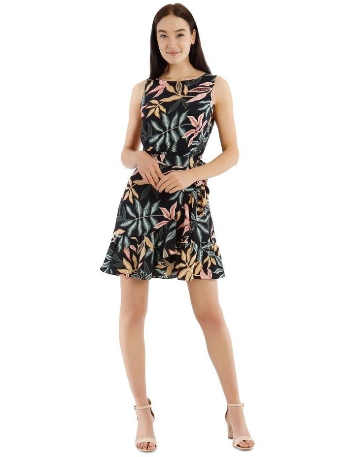 Sleeveless Leaf Printed Apron Front Dress image 1