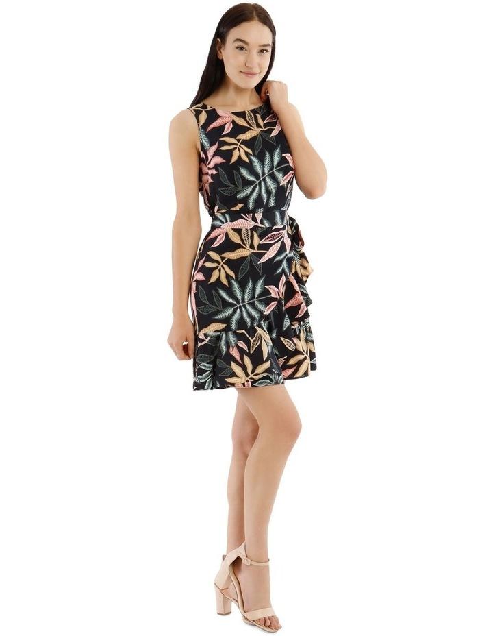 Sleeveless Leaf Printed Apron Front Dress image 2