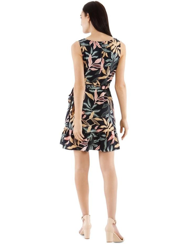 Sleeveless Leaf Printed Apron Front Dress image 3