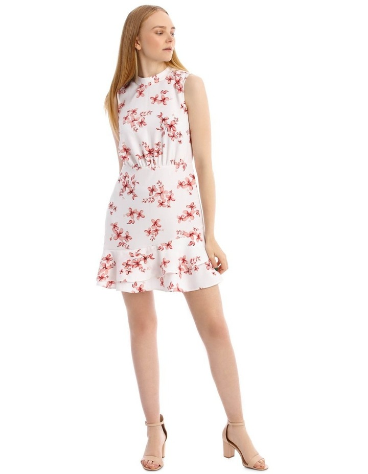 Scatter Bloom Tie Neck Flounce Dress image 1
