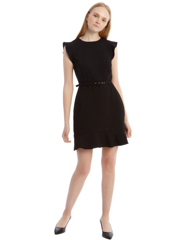 Black Belted Flutter Sleeve Dress image 1