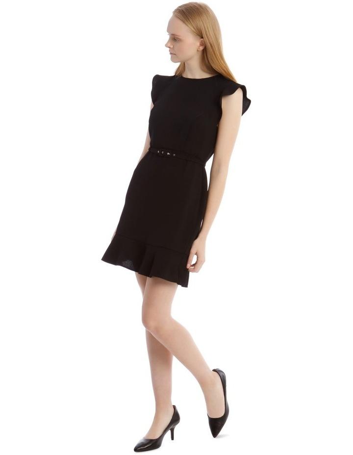 Black Belted Flutter Sleeve Dress image 2