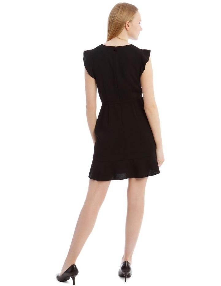 Black Belted Flutter Sleeve Dress image 3