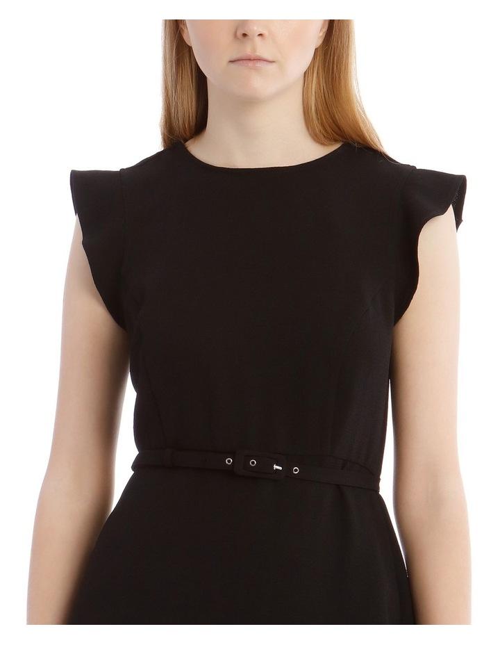 Black Belted Flutter Sleeve Dress image 4