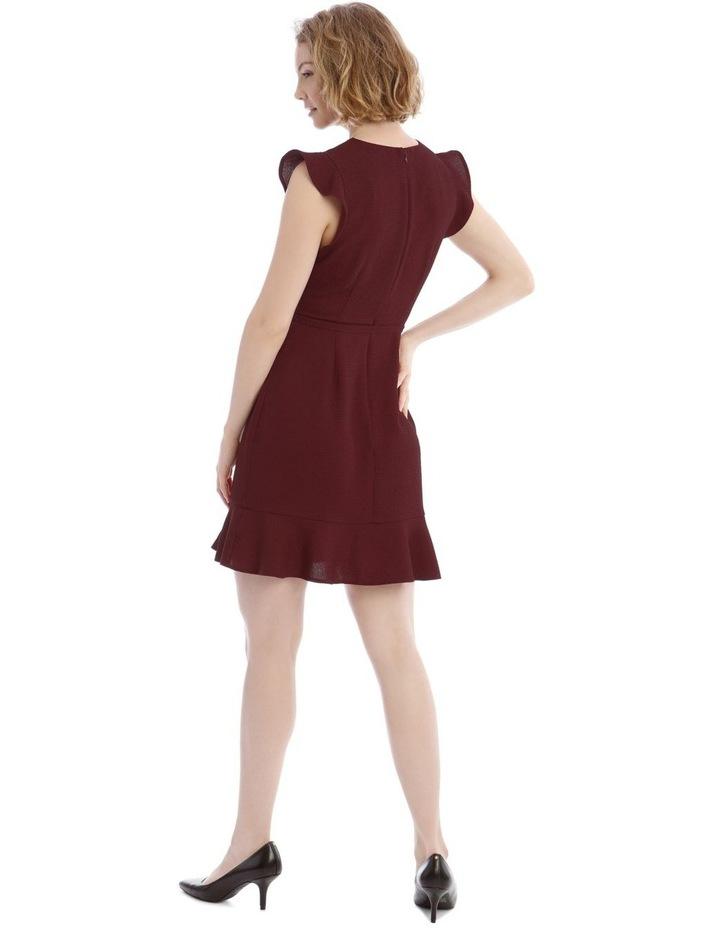 Burgundy Belted Flutter Sleeve Dress image 3