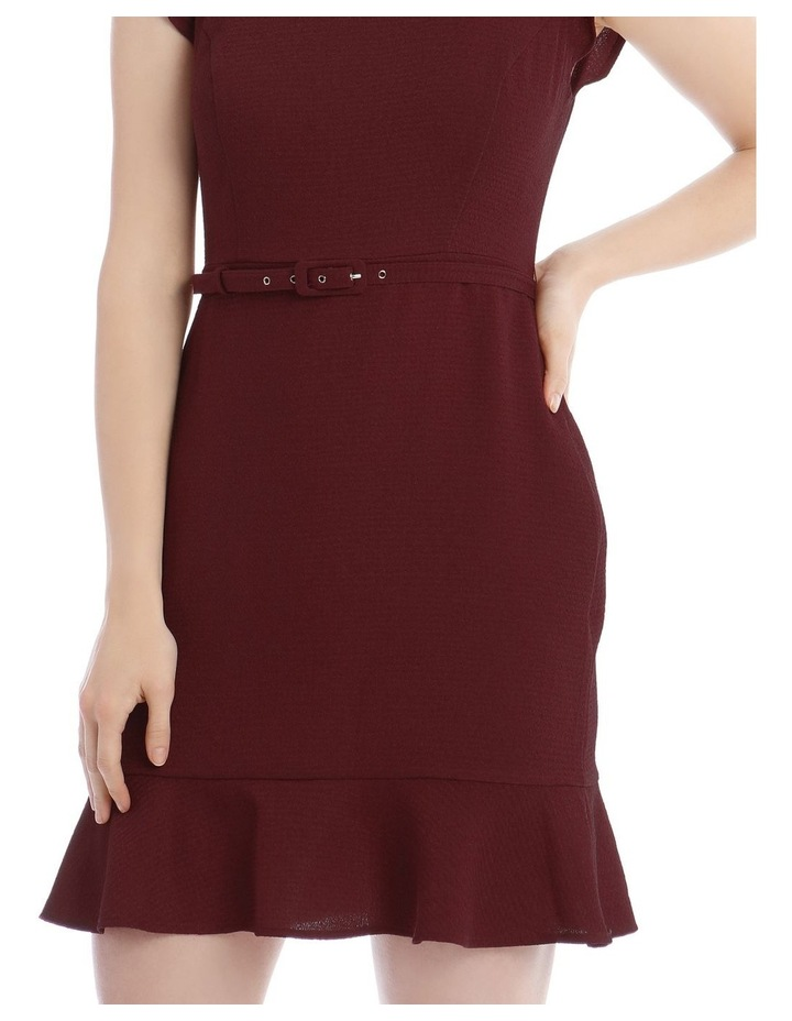 Burgundy Belted Flutter Sleeve Dress image 4