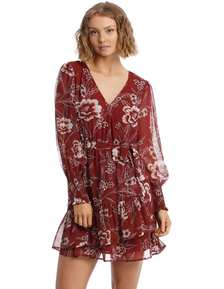 Shirred Cuff Apron Front Dress image 1