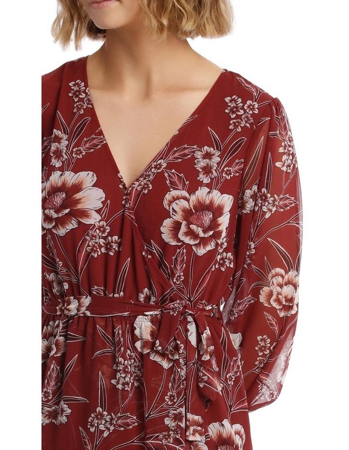 Shirred Cuff Apron Front Dress image 4