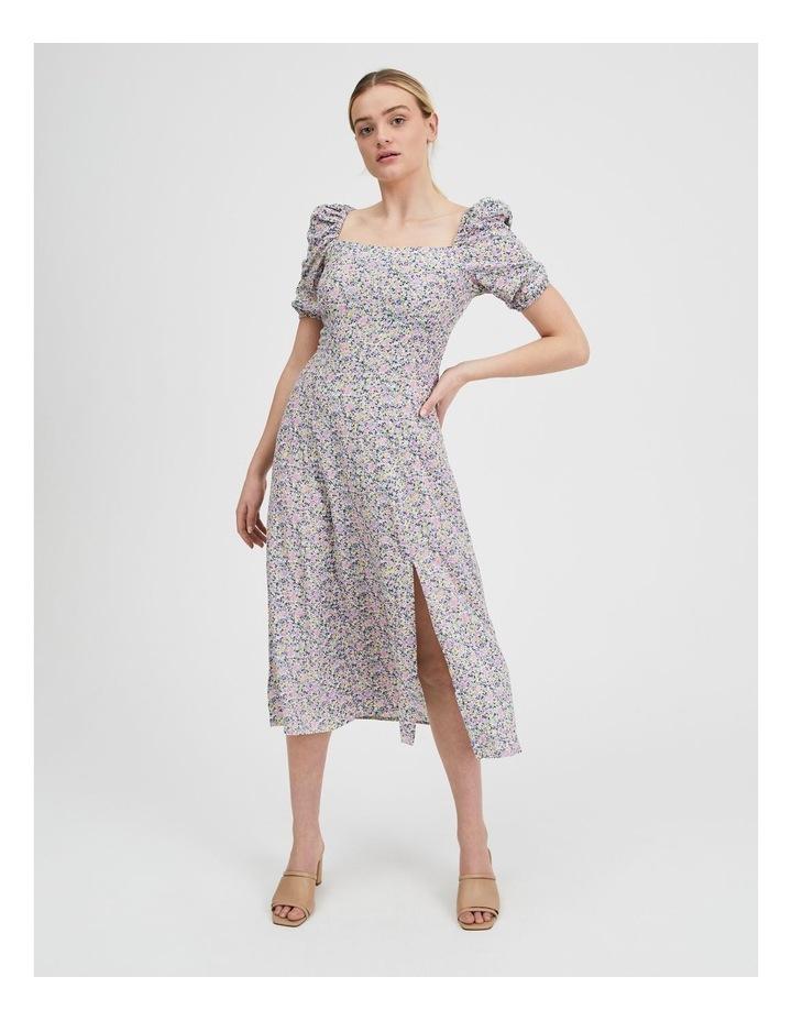 Ruched Sleeve Square Neck Midi Dress image 1