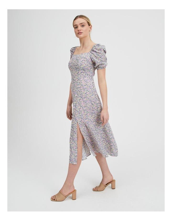 Ruched Sleeve Square Neck Midi Dress image 2