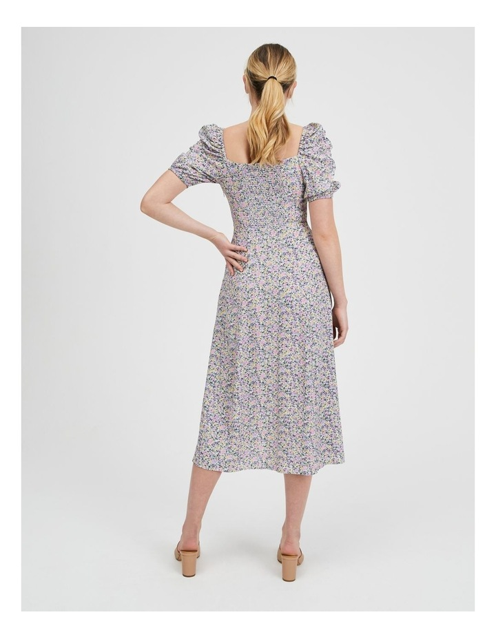Ruched Sleeve Square Neck Midi Dress image 3