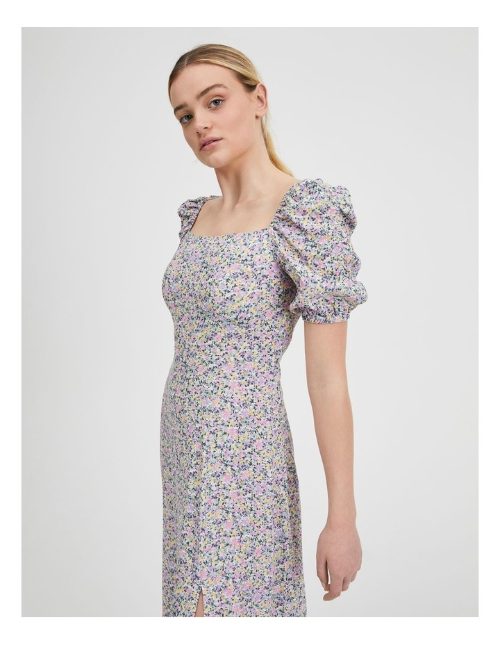 Ruched Sleeve Square Neck Midi Dress image 4