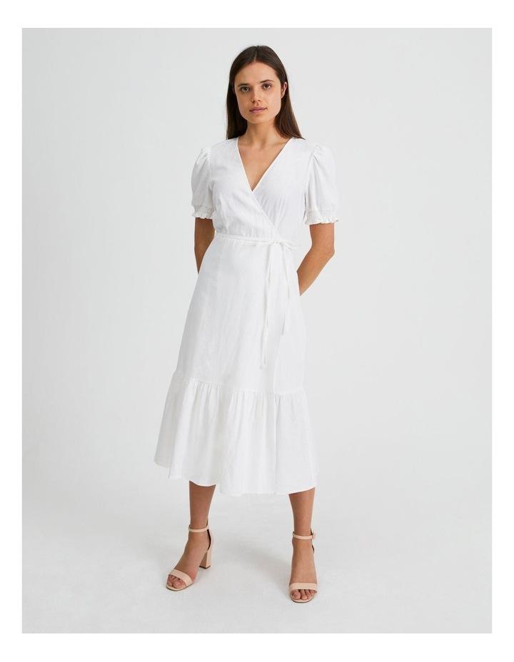 Linen Blend Wrap Midi Dress image 1