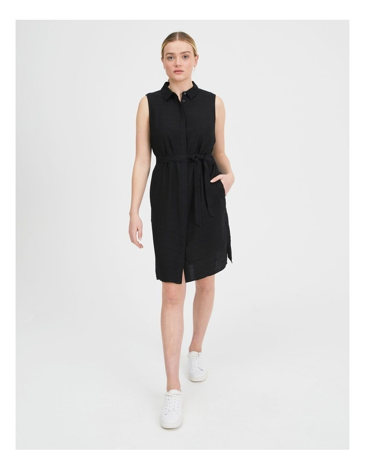 Belted Sleeveless Shirt Dress With Pockets image 1