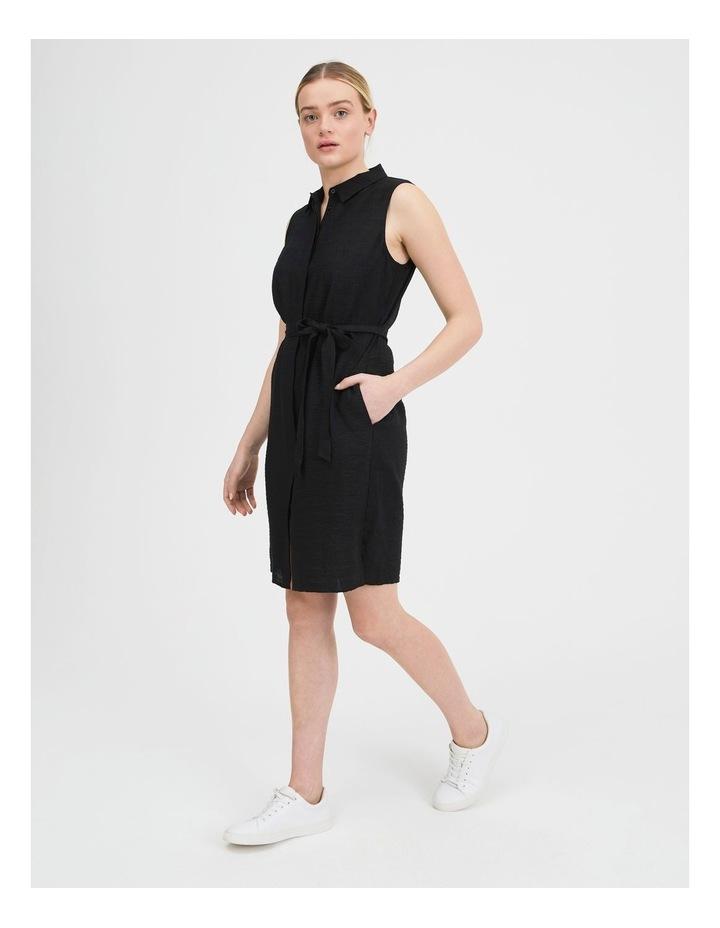 Belted Sleeveless Shirt Dress With Pockets image 2