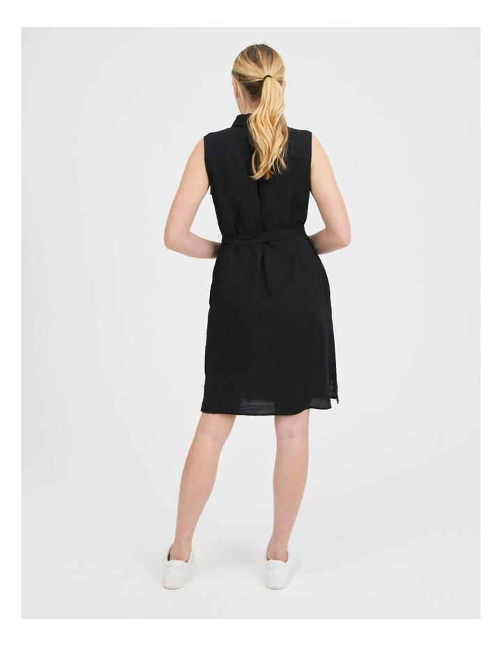 Belted Sleeveless Shirt Dress With Pockets image 3