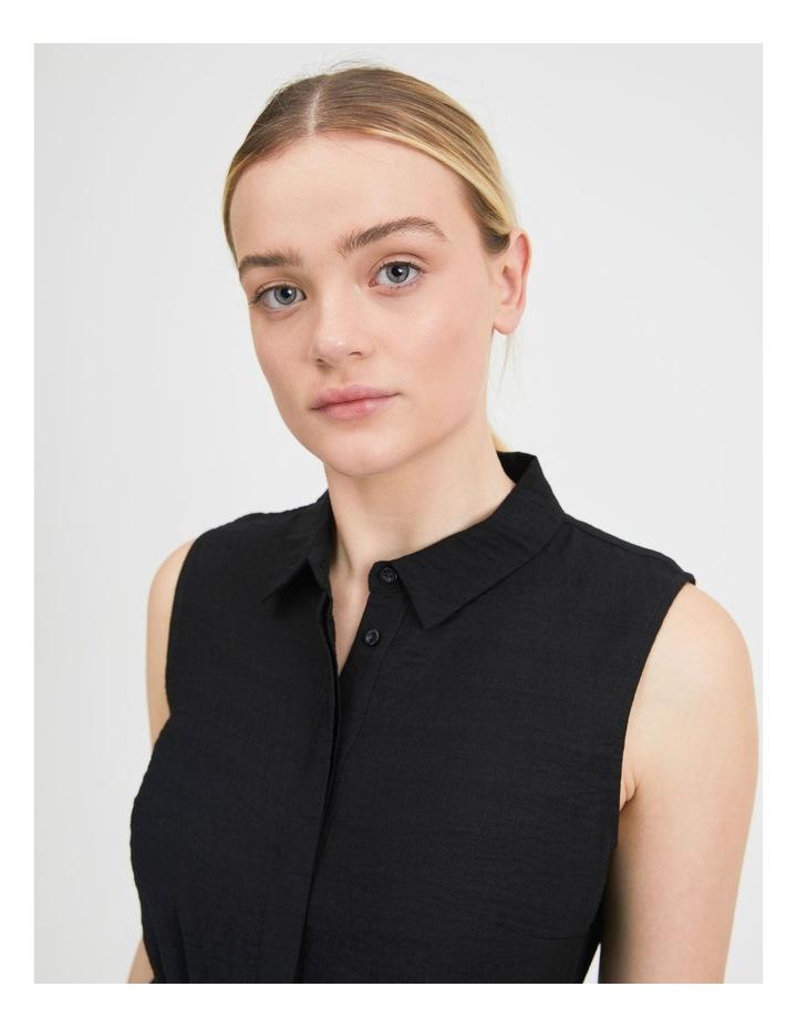 Belted Sleeveless Shirt Dress With Pockets image 4