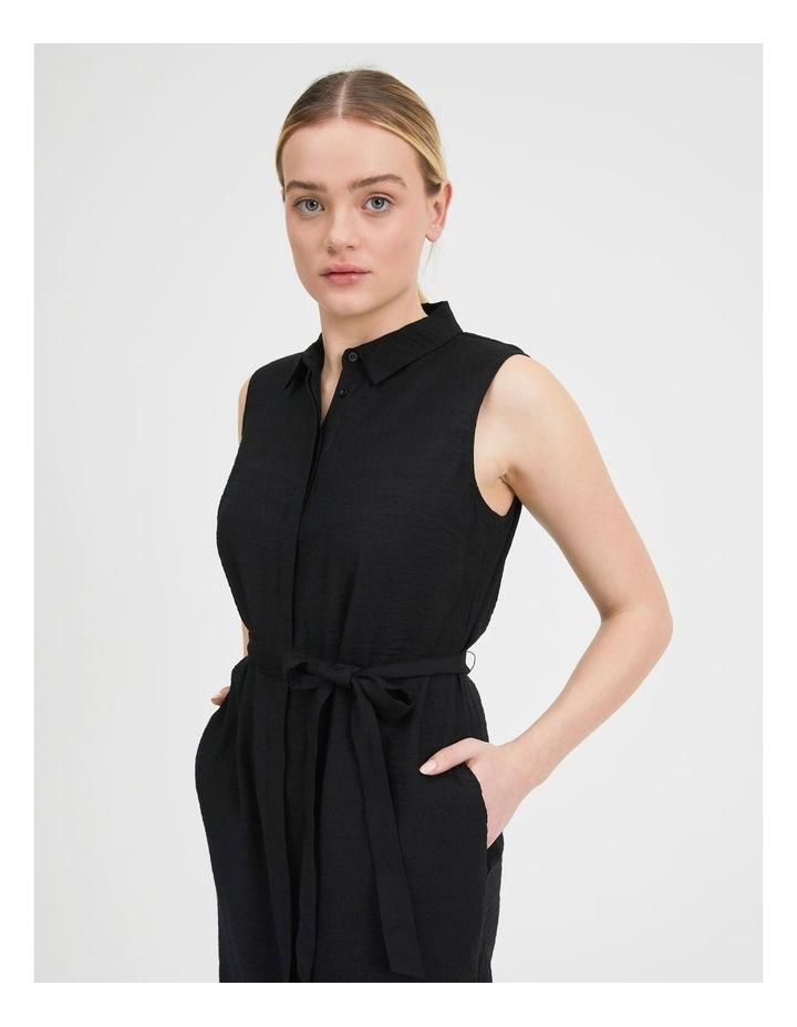 Belted Sleeveless Shirt Dress With Pockets image 5