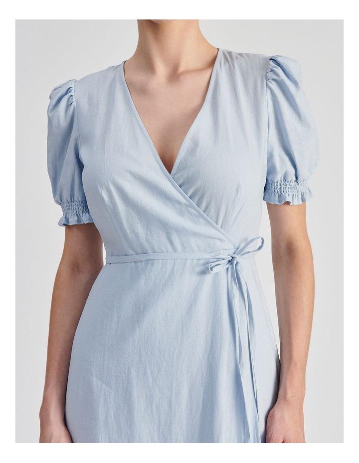 Linen Blend Wrap Midi Dress image 4