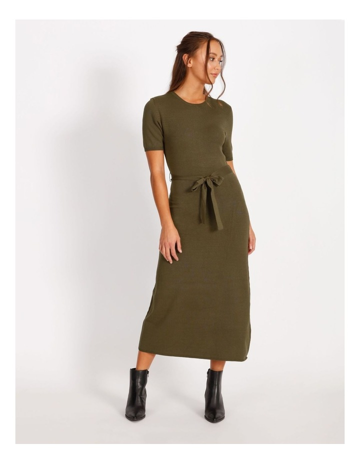 Tie Waist Midi Knit Dress image 1
