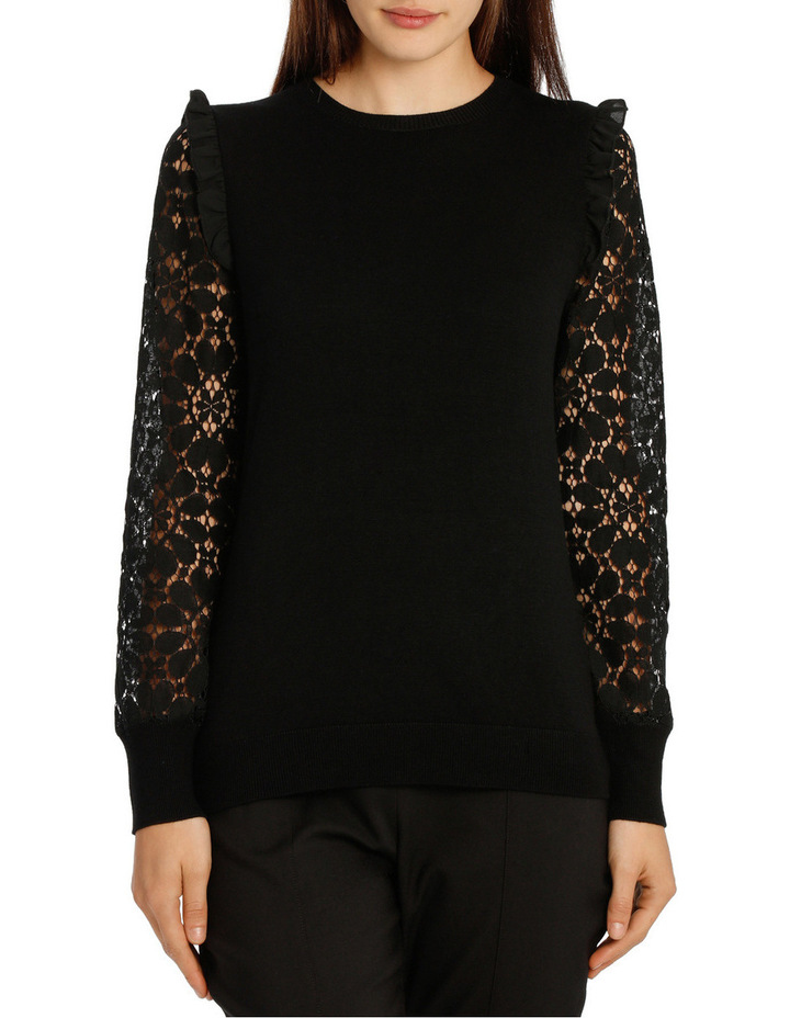 Lace Sleeve Knit - Black image 1