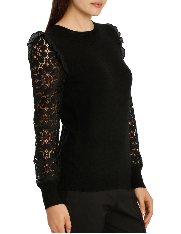 Lace Sleeve Knit - Black image 2