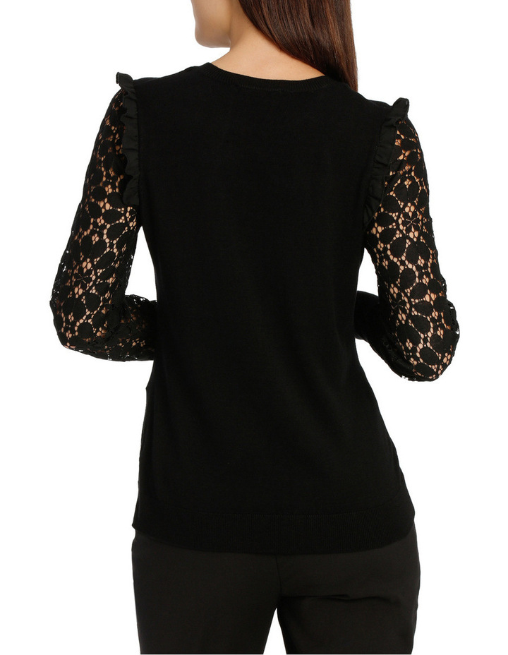 Lace Sleeve Knit - Black image 3