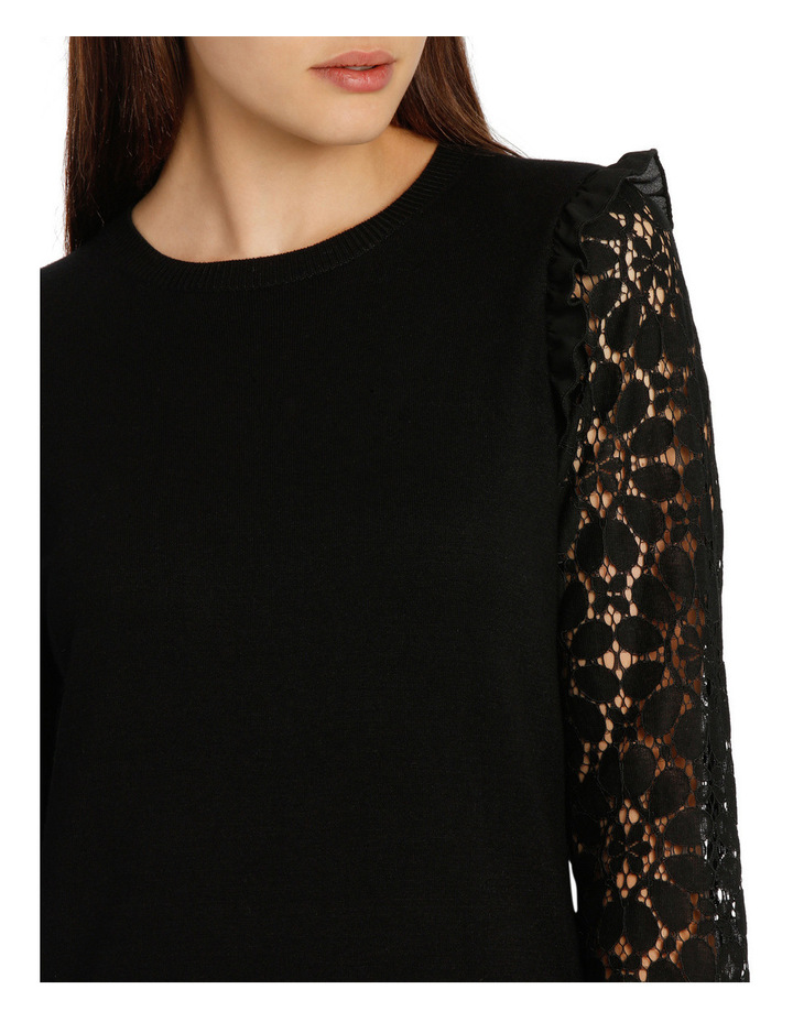 Lace Sleeve Knit - Black image 4