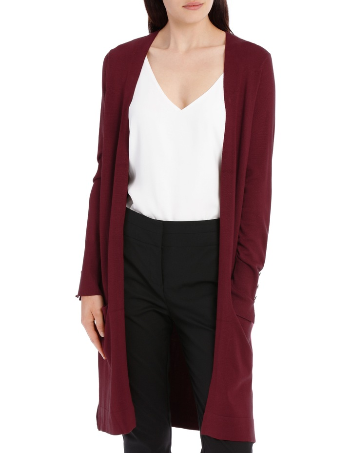 Long Line Cardigan - Plum image 1