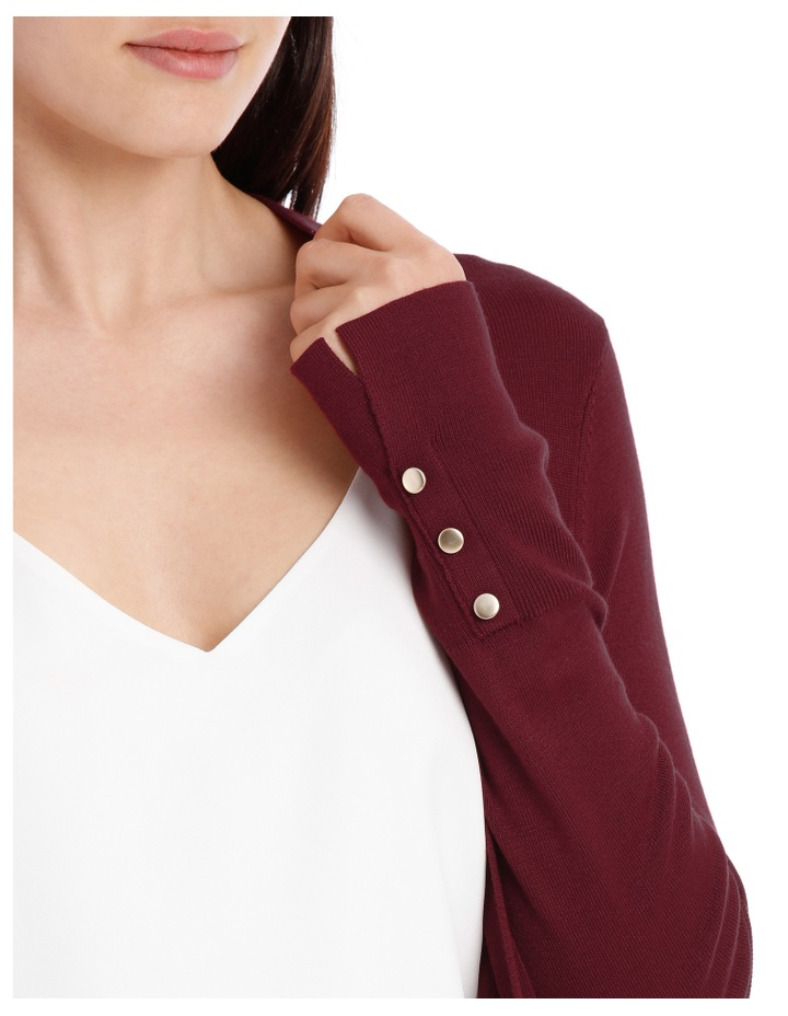Long Line Cardigan - Plum image 4