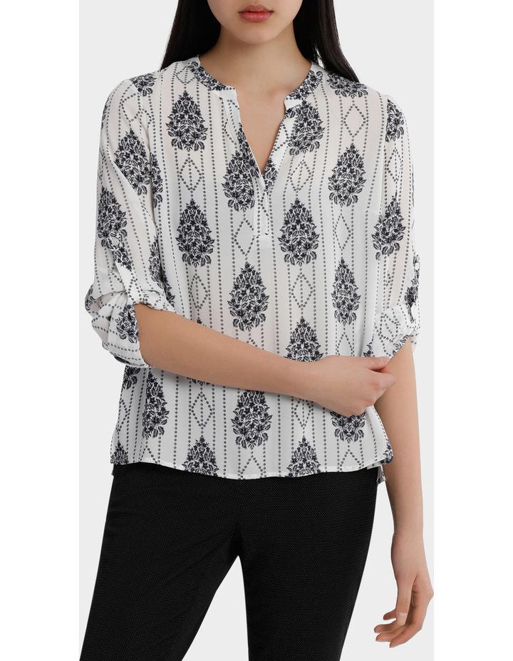Roll Sleeve Collarless Shirt - Romantic Paisley Print image 1