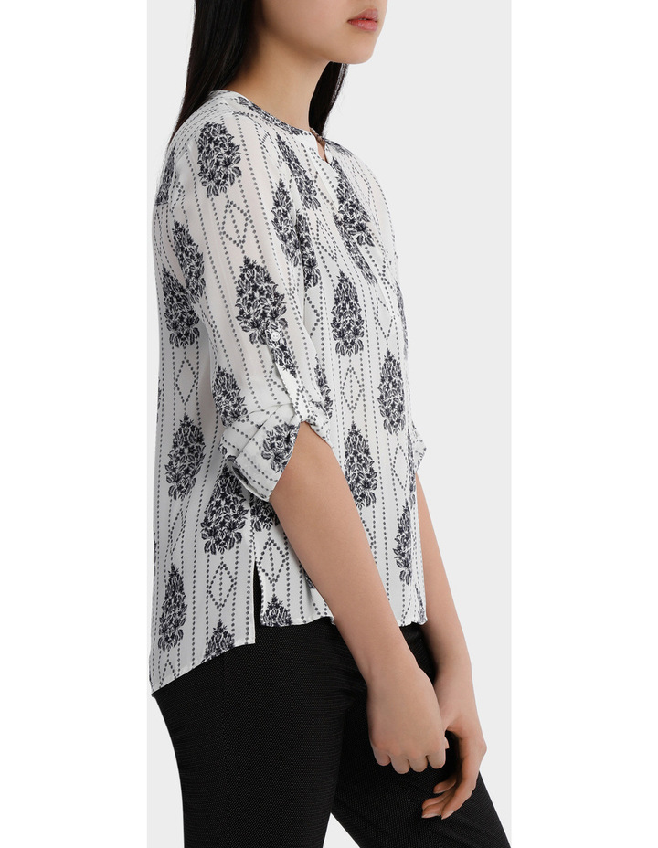 Roll Sleeve Collarless Shirt - Romantic Paisley Print image 2