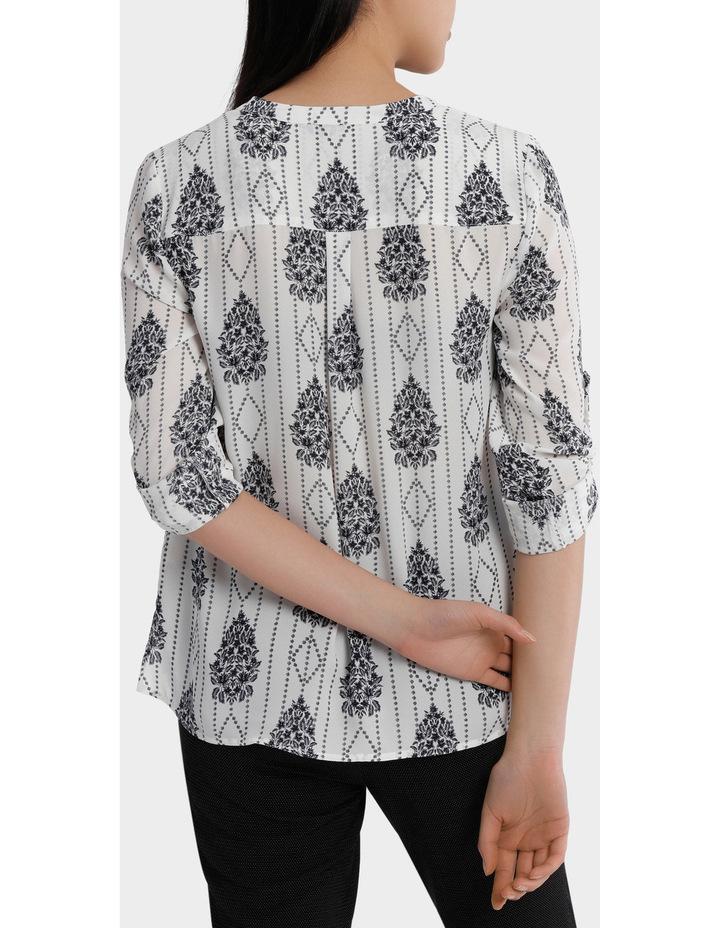 Roll Sleeve Collarless Shirt - Romantic Paisley Print image 3