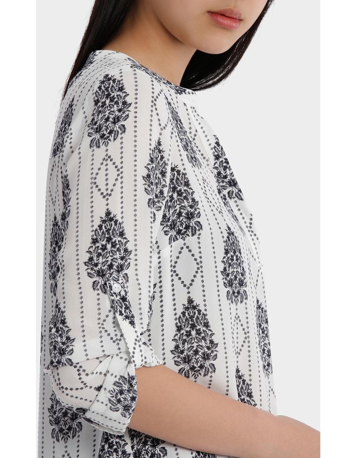 Roll Sleeve Collarless Shirt - Romantic Paisley Print image 4